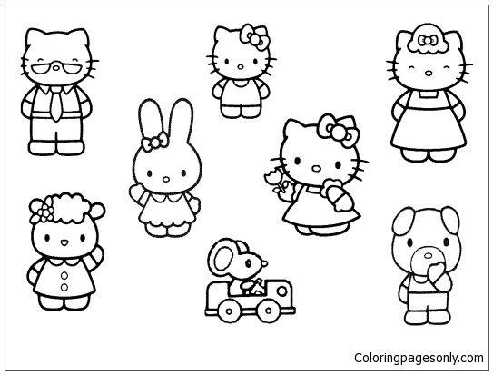 Hello Kitty And Friends 1 Coloring Page Buku Mewarnai Warna Buku