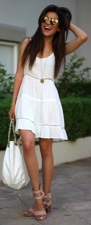 Beautiful White Dress, White Bag, Nude Sandals | Boho Chic | Sazan: