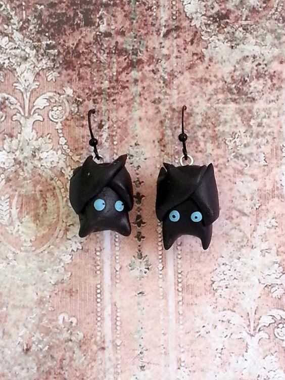 Kawaii Gothy Bat Earrings OOAK by LoveCraftAndCo on Etsy, $7.00: