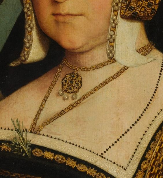 Lady Guildford (Mary Wotton, born 1500)  Artist:     Copy after Hans Holbein the Younger (British, 16th century)  Medium:     Oil and gold on oak  Dimensions:     32 1/8 x 26 1/8 in. (81.6 x 66.4 cm)  Classification:     Paintings  Credit Line:     Bequest of William K. Vanderbilt, 1920  Accession Number:     20.155.4