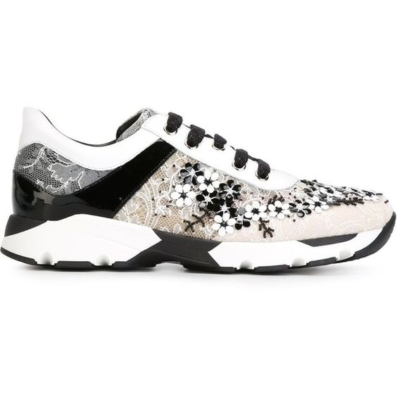 Rene Caovilla Floral Lace Sneakers (14.966.365 IDR) ❤ liked on Polyvore featuring shoes, sneakers, black, floral shoes, black lace shoes, flower pattern shoes, black shoes and floral printed shoes