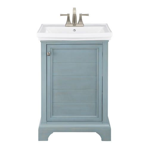Foremost Reid 23 5 8 W X 17 7 8 D Washed Blue Vanity Combo Blue Bathroom Vanity Vanity Blue Vanity