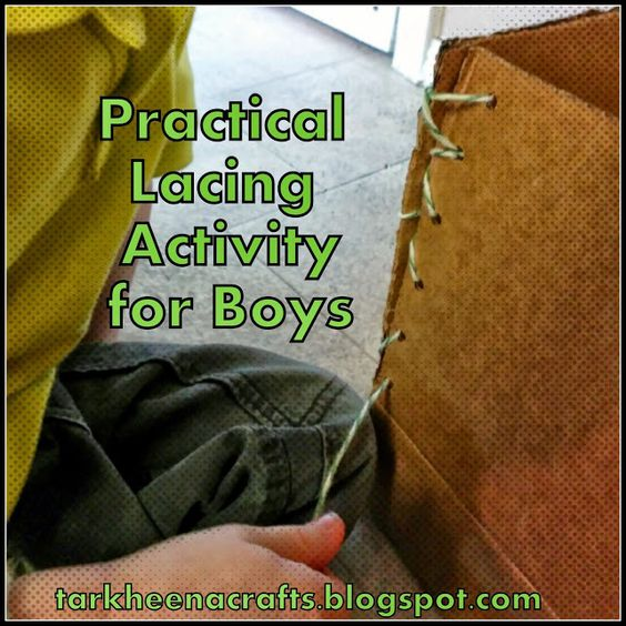 Tarkheena Crafts: Practical Lacing Activities for Boys. Sew together the flaps of a cardboard box to make it taller