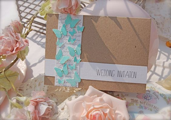 Summer Butterflies Handmade AMELIE  Eco friendly wedding invitation with RSVP turquoise tiffany blue colors