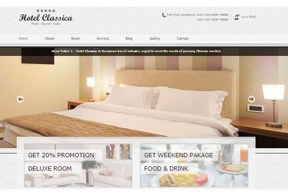 Hotel Classica Minimalist Theme - A minimalist hotel theme that conveys the serenity at your hotel in a subtle and pleasant tone. The theme supports portfolio type posts and auto image sizing.