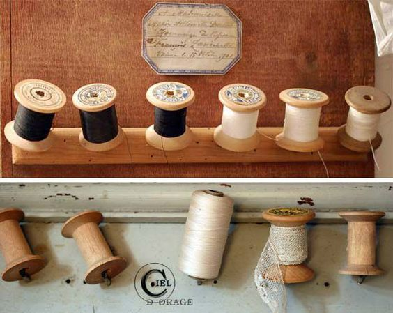 Wooden spool collection in neutrals