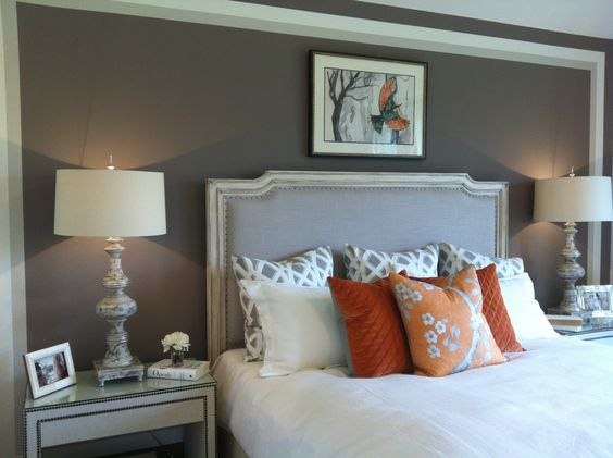 Love the grey paint white quilt orange accents master for White and orange bedroom designs