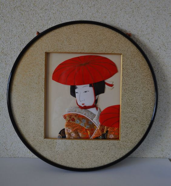 Oshi-e , vintage Japanese fabric picture, round black lacquered frame from Styled in Japan  www.styledinjapan.com