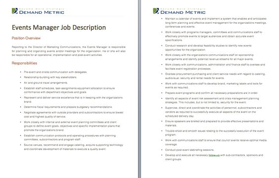 Events manager job description a template to quickly for Events manager job description template