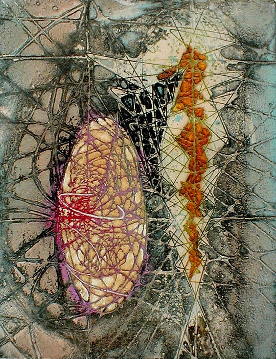 "Krishna Reddy: ""Two Forms in One"", 1957; color viscosity intaglio.:"