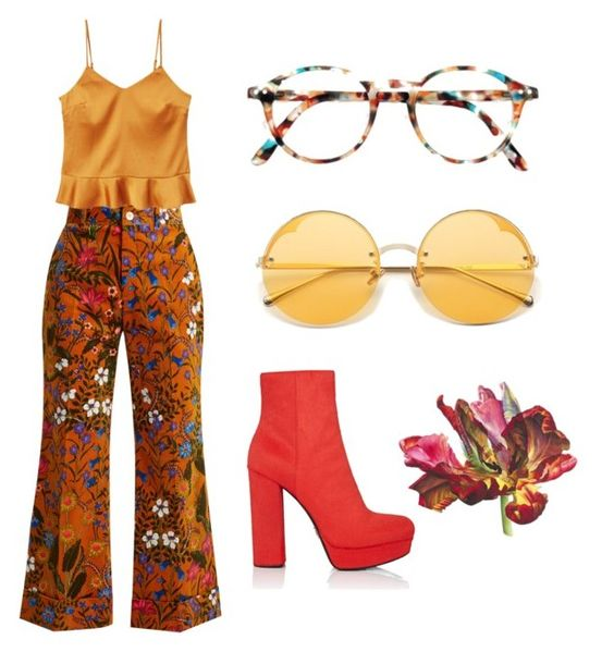 """flare"" by samanthadixon-1 on Polyvore featuring Gucci, Prada, MANGO, festival, sunglasses, 70s, flare and mustard"