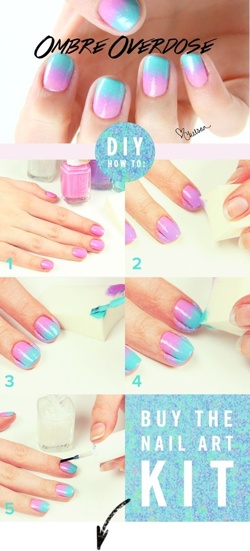 You might be surprised how easy it is to get awesome looking ombre nails (in any color palette). All it takes is a good makeup sponge and some great polishes. Follow the DIY graphic above or see our nail pro do it herself right here in our instructional video. Then get everything you need for this ombre look at Nasty Nails.