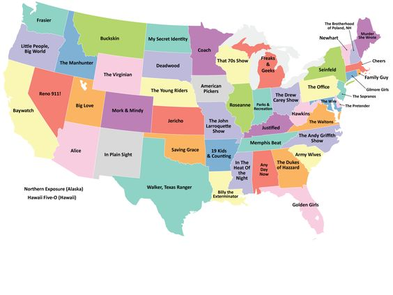 US Map Showing The TV Series Best Representing Each State - Memphis us map