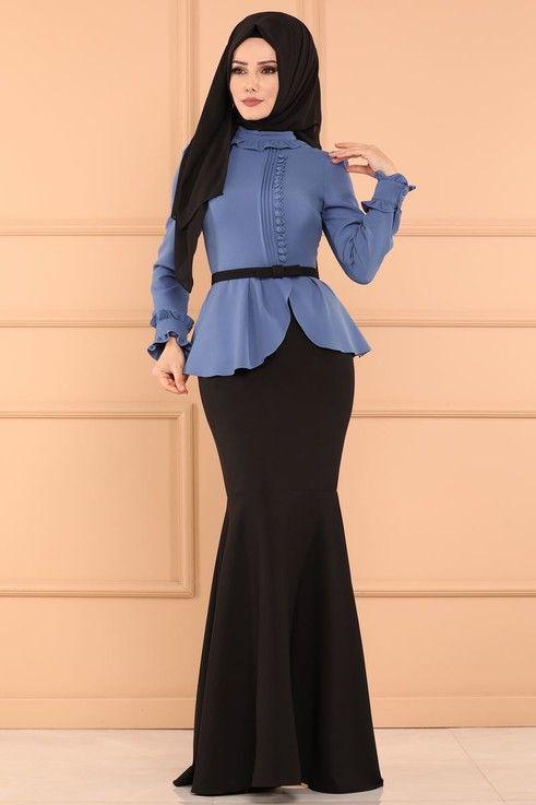 Modaselvim Abiye Cift Renkli Balik Abiye 5090ay342 Bebe Mavisi Basortusu Modasi Moda Stilleri Islami Moda