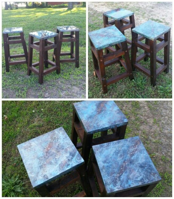https://www.facebook.com/pages/Found-On-The-Farm-Custom-Furniture/868290583185695 Metal top bar stools, etched with our own self created formulas.