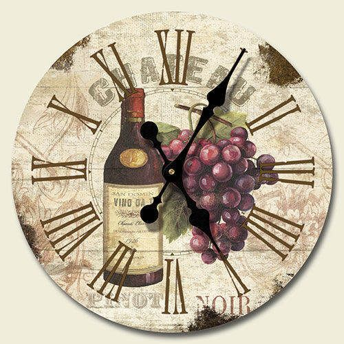 Tuscan decor chateaus and wall clocks on pinterest for Wine and grape themed kitchen ideas