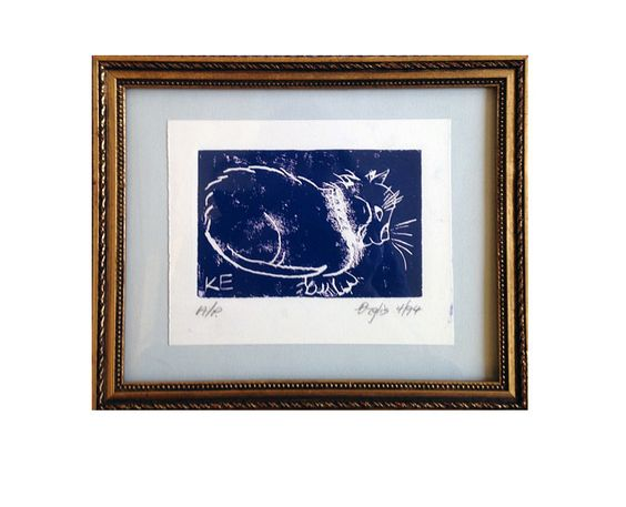 11  |  Title: Ziggy  |  Artist: Kristine Erglis  |  Media: Lino Print A/P  |  Size: 7.5 x 6 in