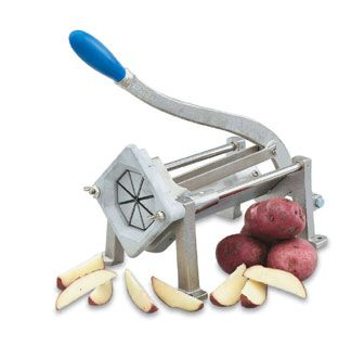 Vollrath Wedge Cut Potato Cutter nickel-plated ductile cast iron frame with screw holes on base of legs - 47703  Wedge Cut Potato Cutter, ni...