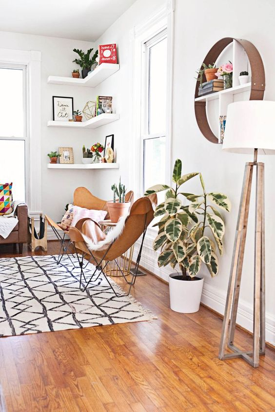 Floating Corner Shelves Butterfly Chairs Tripod Lamp