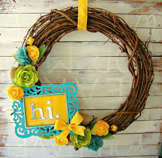 Yellow and turquoise wreath - craft it forward by michaels #agirlandagluegun