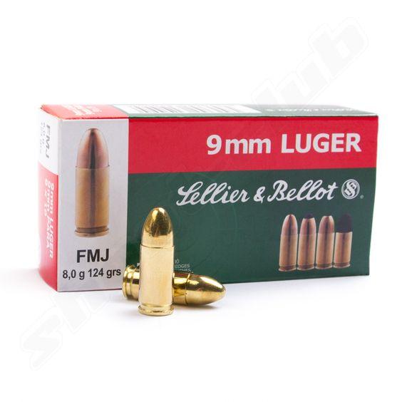 Sellier&Bellot 9mm Luger FMJ 124grs - 50 Volllmantel-Patronen