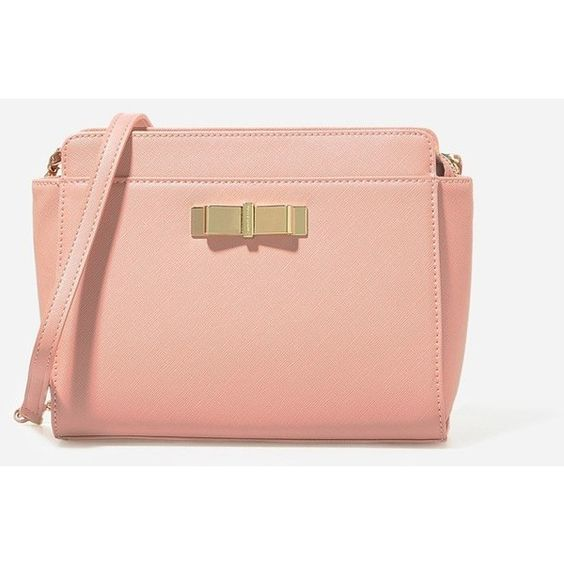 CHARLES & KEITH Bow Crossbody Bag ($59) ❤ liked on Polyvore featuring bags, handbags, shoulder bags, nude, crossbody purse, shoulder strap bag, red crossbody, red cross body purse and chain strap crossbody