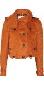 Burberry LondonCropped hooded linen-twill trench coat