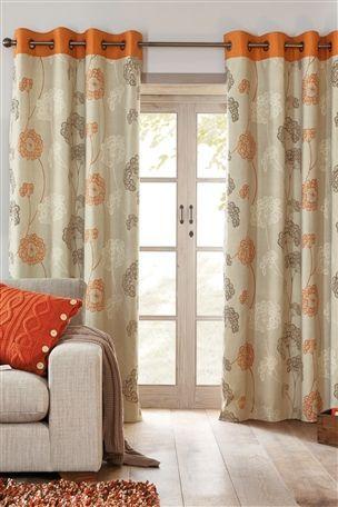 Buy Orange Emily Floral Eyelet Curtains From The Next Uk Online