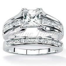 925 Sterling Silver Women's Wedding Band Princess CZ Bridal Engagement Ring Set wishipro.blogspot.com: