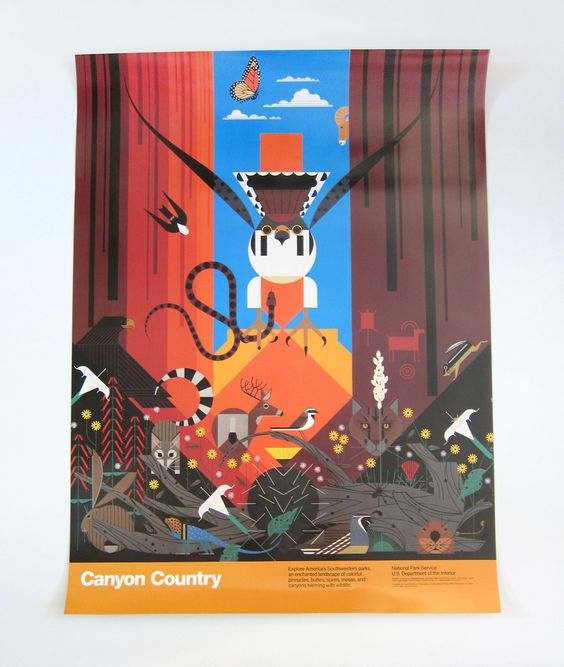 """Vintage Charley Harper """"National Parks Service Poster - Canyon Country"""". Featuring fauna such as a falcon, snake, rabbit, a cougar and more."""