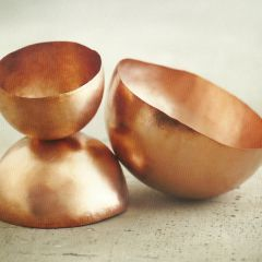 copper bowls!!! love them..eating in metallic style!