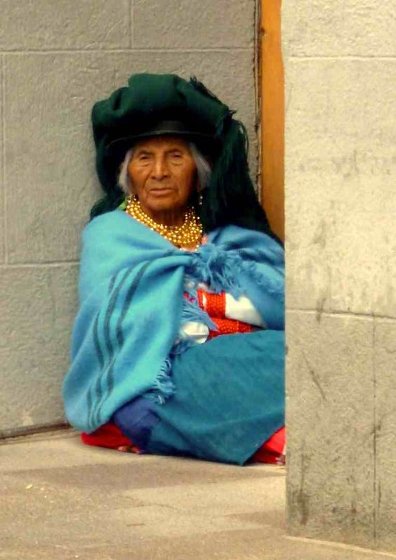 Indigenous woman dress with traditional custom of Northern Ecuador