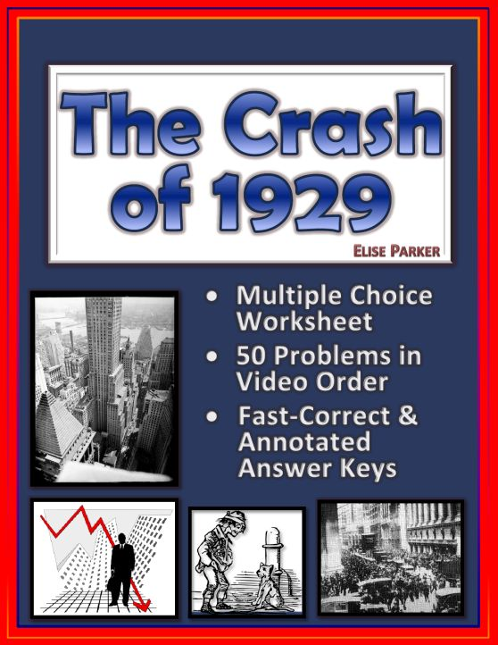 NO PREP Worksheets to go along with American Experience: The Crash of 1929. Easy to correct multiple choice format, both consumable and reusable formats included. These Crash of 1929 Worksheets come with a fast correct answer key as well as an annotated one.