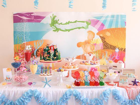 MERMAID PARTY  FIESTA TEMA SIRENITA Fiesta Party Sirenita niños kids color alegre fun guirnaldas Mermaid Guest Dessert Feature | Amy Atlas Events
