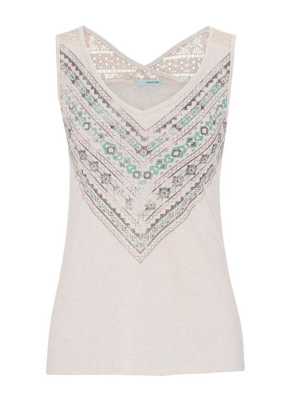 Raw Edge Graphic Print Tank With Lace Upper Back - Beige