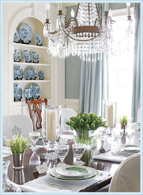 Traditional Blue Dining Room from Atlanta Homes Magazine. English French country traditional dining room.: