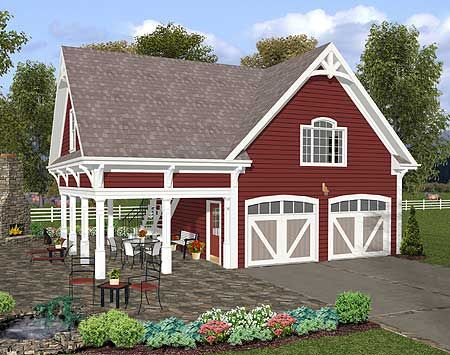 Another garage apartment option - I really like this one, especially since it is already my favorite color - red with white corners...