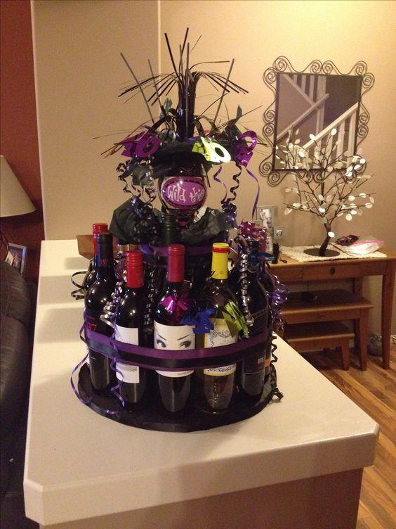 """Wine Bottle """"Cake"""" for 40th birthday. 16 bottles."""