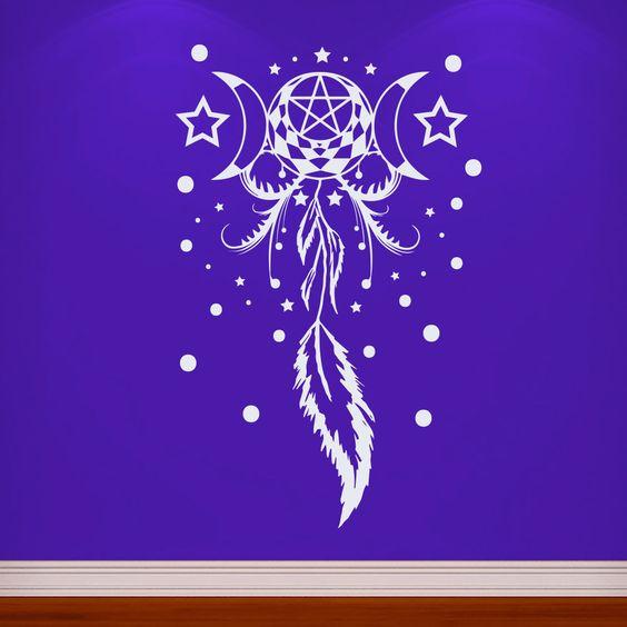 Wall Decals Dreamcatcher Feathers Star Moon Dorm Living Room Vinyl Sticker MR399 #STICKALZ #MuralArtDecals