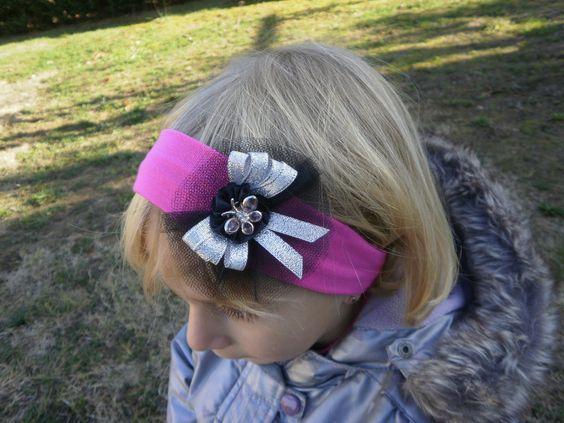 Bandeau papillon strass, noir,argenté, bandeau cheveux bébé petite fille fuchsia…
