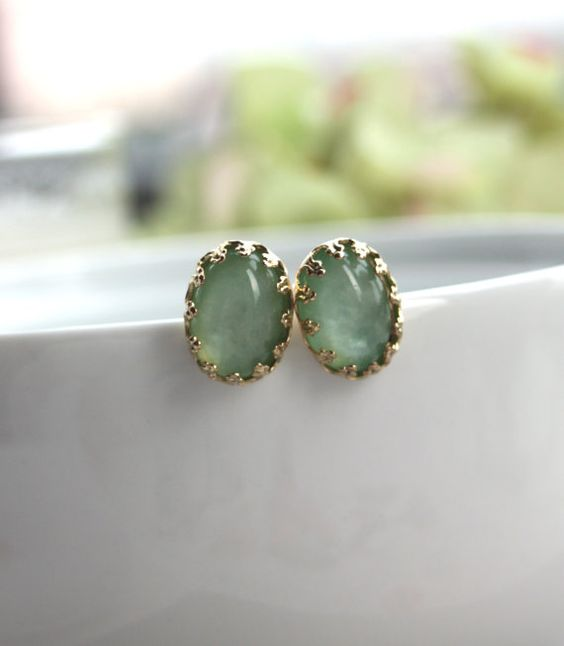 18K Gold Plated Light Soft Mint Green Cabochon Lacy Crown Ear Post Earrings. Bridesmaid Gifts.  Bridesmaid Earrings. Green Wedding. Summer.
