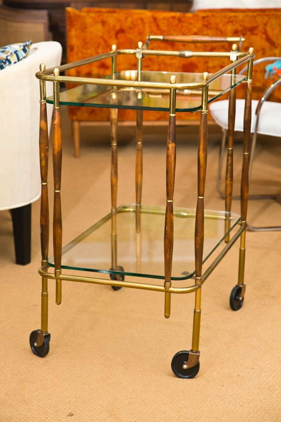 Vintage 1950's Bar Cart | From a unique collection of antique and modern bar carts at http://www.1stdibs.com/furniture/tables/bar-carts/