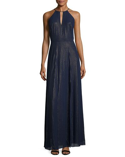 TCUEU Phoebe Halter Striped Chiffon A-line Gown