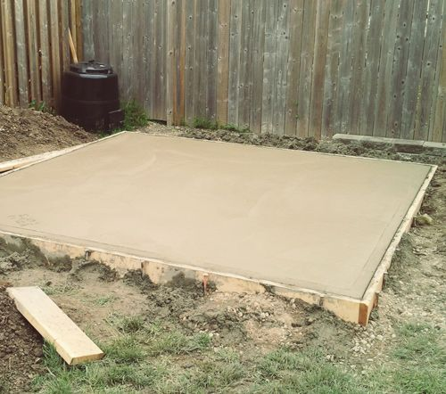 Project backyard pouring a concrete pad caves summer for How to pour a concrete slab for a garage