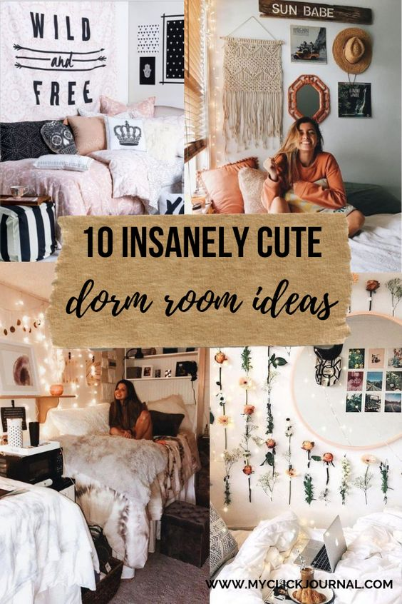 Here are 10 insanely cute dorm room ideas for college students, for better dorm room organization and a boho and trendy dorm room. These dorm ideas are perfect for college freshman and university! #collegedorms #dormroomideas #dormroomdecor
