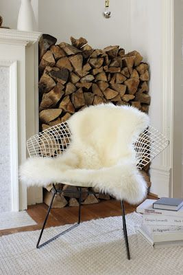 Sheepskin on chair: