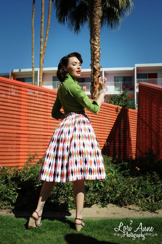 Pinup Couture Jenny Skirt in 1950s Harlequin Print