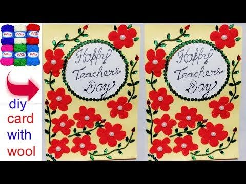 649 How To Make Greeting Card Using Woolen New Handmade Card Diy
