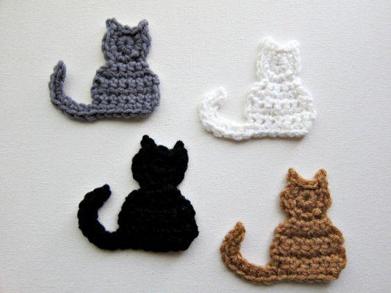 """1pc 3.5"""" Crochet CAT Applique"""