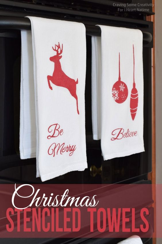 Christmas Stenciled Kitchen Towels Nap Times Towels And